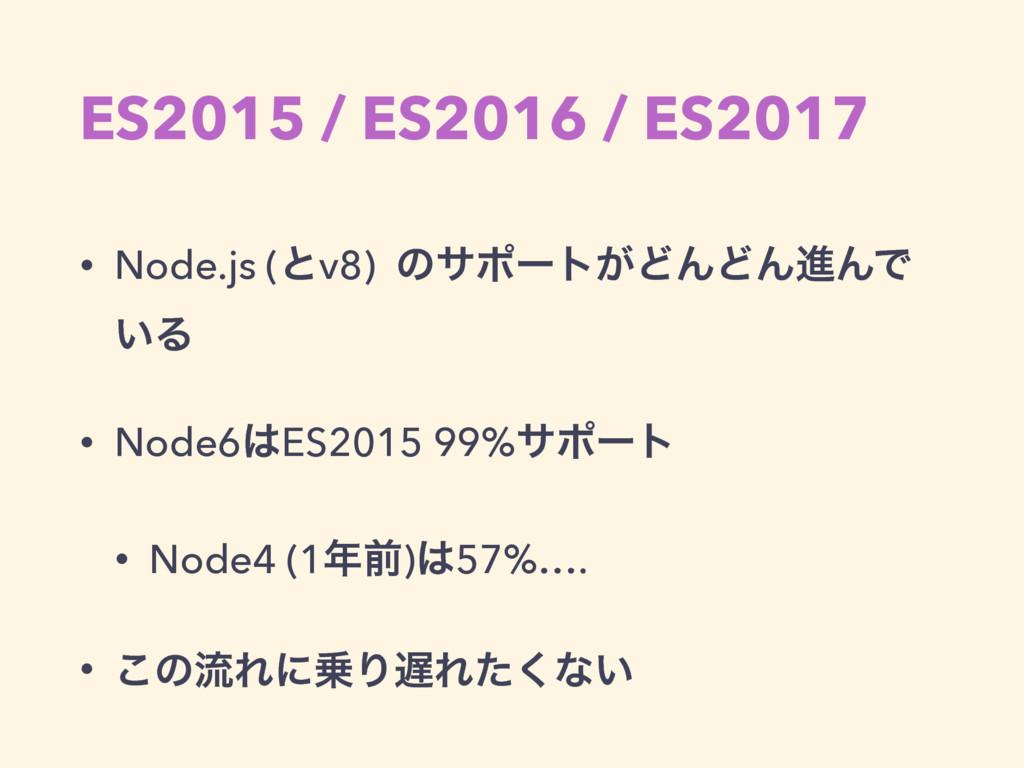 ES2015 / ES2016 / ES2017 • Node.js (ͱv8) ͷαϙʔτ͕...