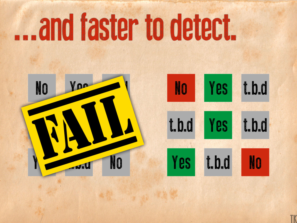...and faster to detect. Yes Yes Yes No No t.b....