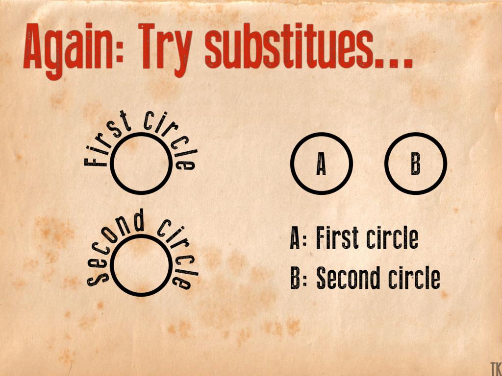 Again: Try substitues... A: First circle A B B:...