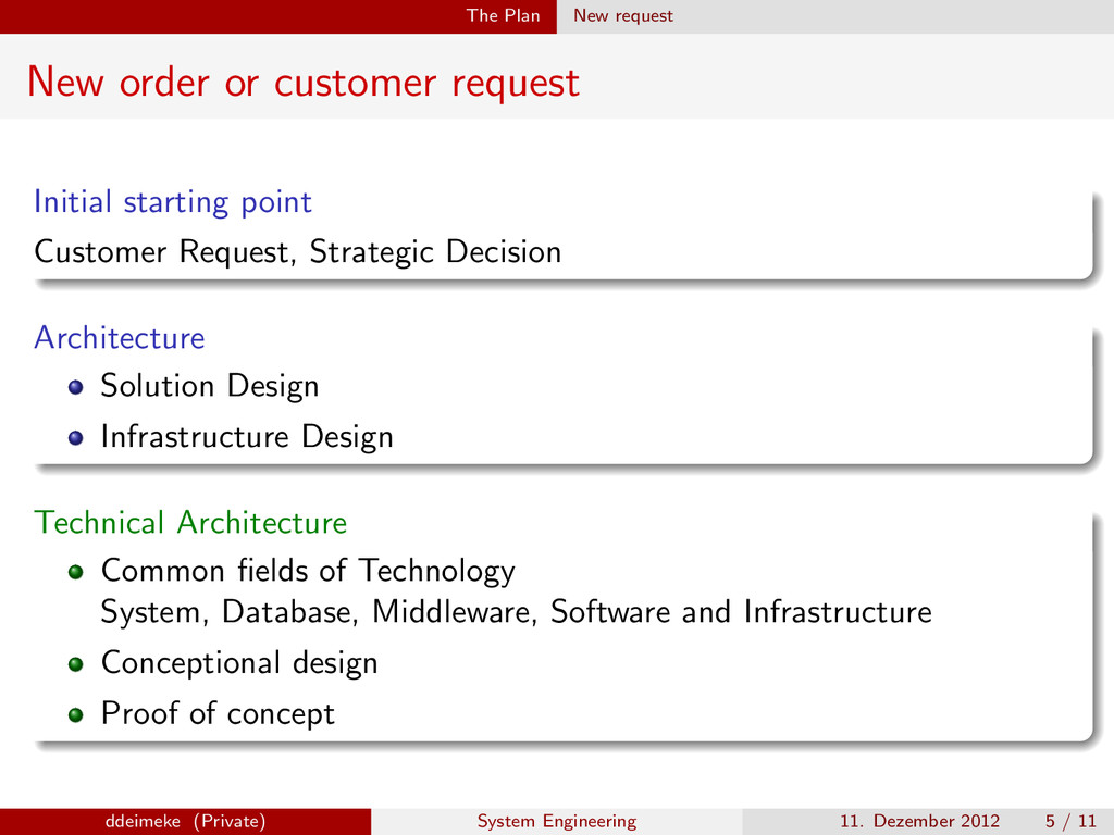 The Plan New request New order or customer requ...