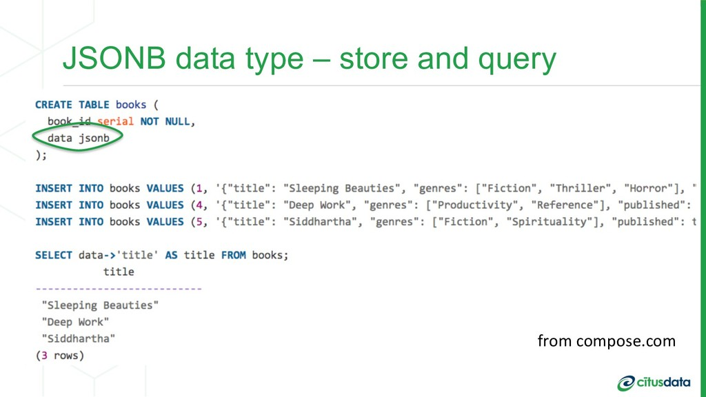 JSONB data type – store and query from compose....