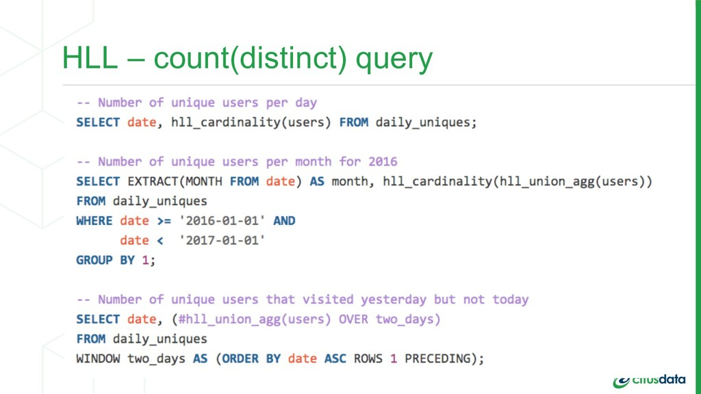 HLL – count(distinct) query