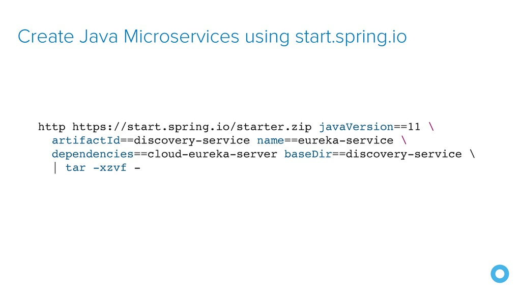 Create Java Microservices using start.spring.io...