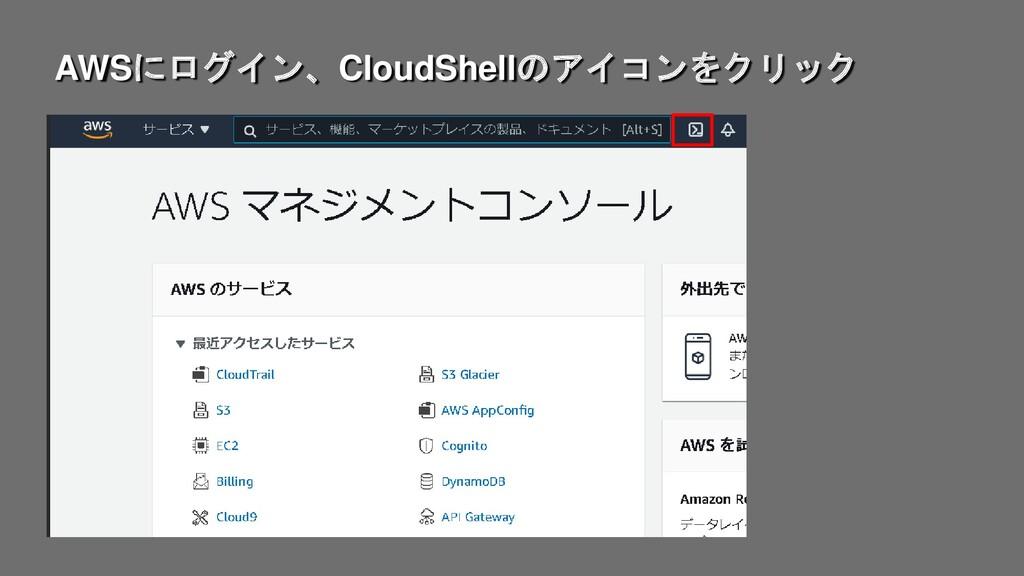 AWSにログイン、CloudShellのアイコンをクリック
