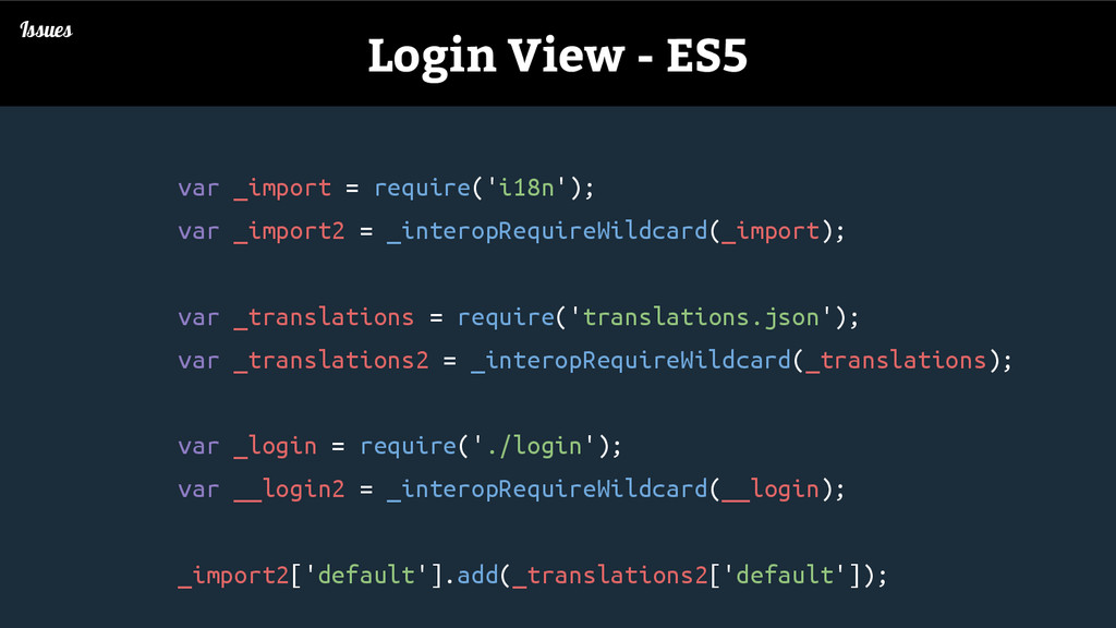 Issues Login View - ES5 var _import = require('...