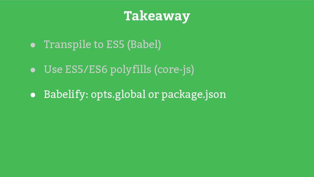 ● Transpile to ES5 (Babel) ● Use ES5/ES6 polyfi...