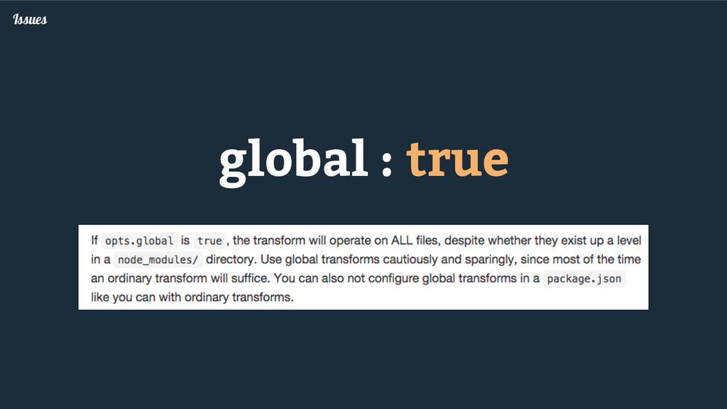 global : true Issues