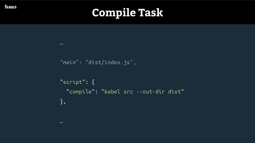 """… """"main"""": """"dist/index.js"""", """"script"""": { """"compile..."""
