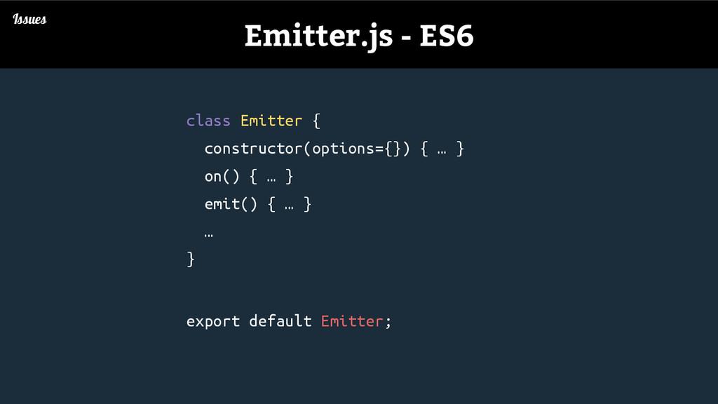 Issues Emitter.js - ES6 class Emitter { constru...