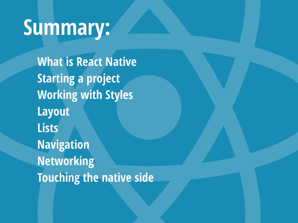 Summary: What is React Native Starting a projec...