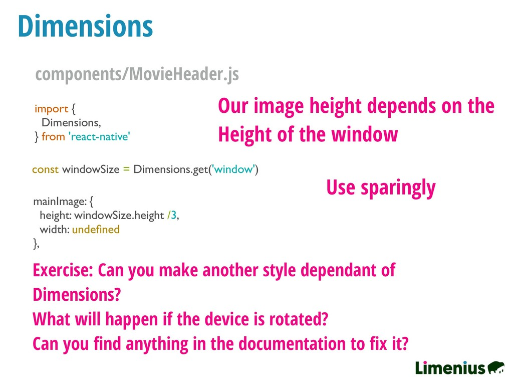Dimensions import { Dimensions, } from 'react-n...
