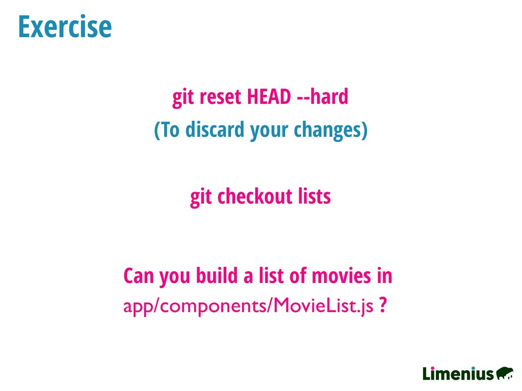 Exercise git checkout lists Can you build a lis...