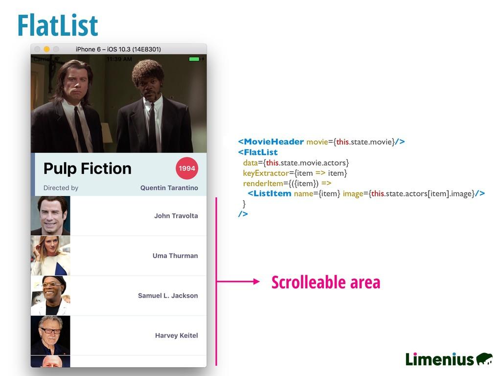 FlatList Scrolleable area <FlatList data={this....
