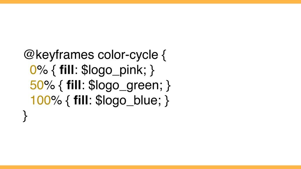 @keyframes color-cycle { 0% { fill: $logo_pink; ...