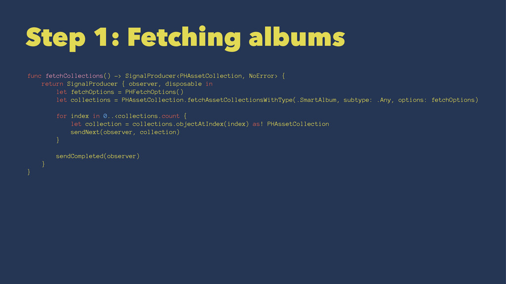 Step 1: Fetching albums func fetchCollections()...