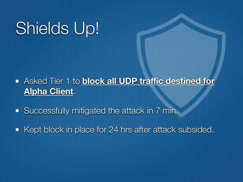 Shields Up! Asked Tier 1 to block all UDP traffic...