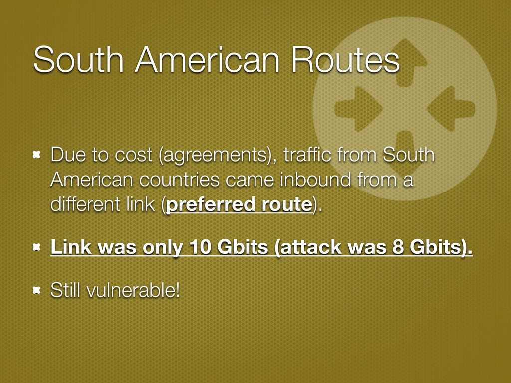 South American Routes Due to cost (agreements),...