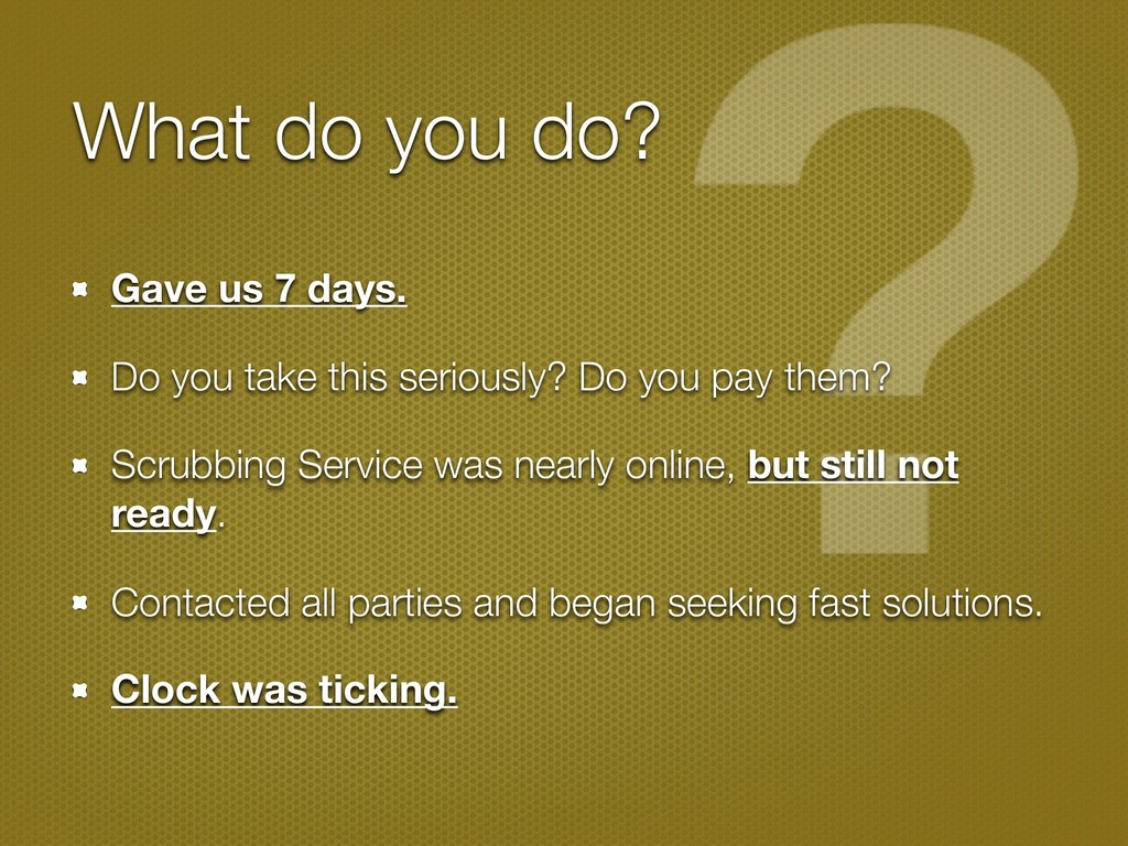 What do you do? Gave us 7 days. Do you take thi...