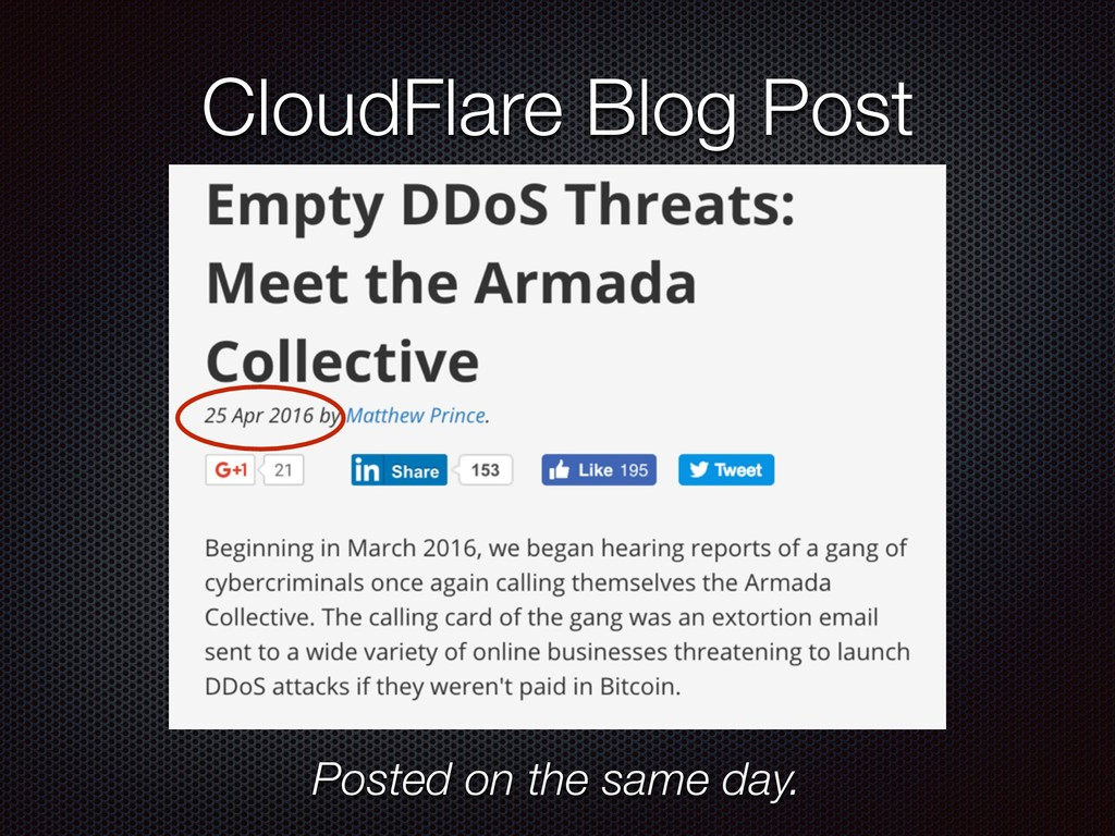 CloudFlare Blog Post Posted on the same day.