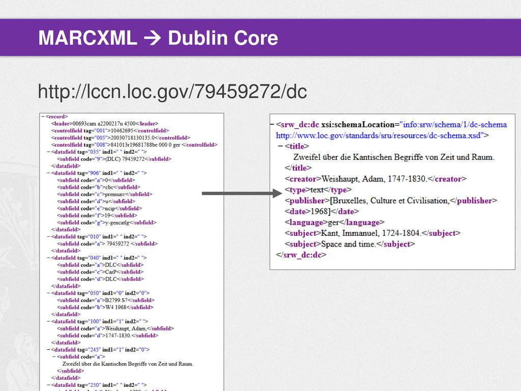 MARCXML  Dublin Core http://lccn.loc.gov/79459...