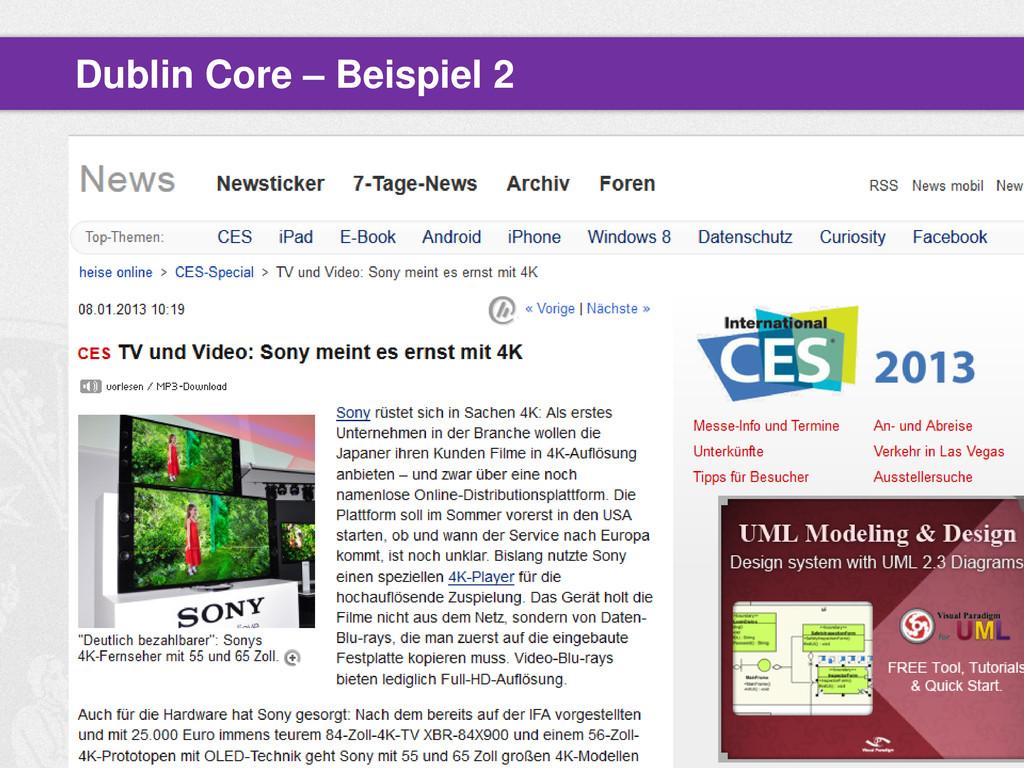 Beitrag auf heise.de Dublin Core – Beispiel 2