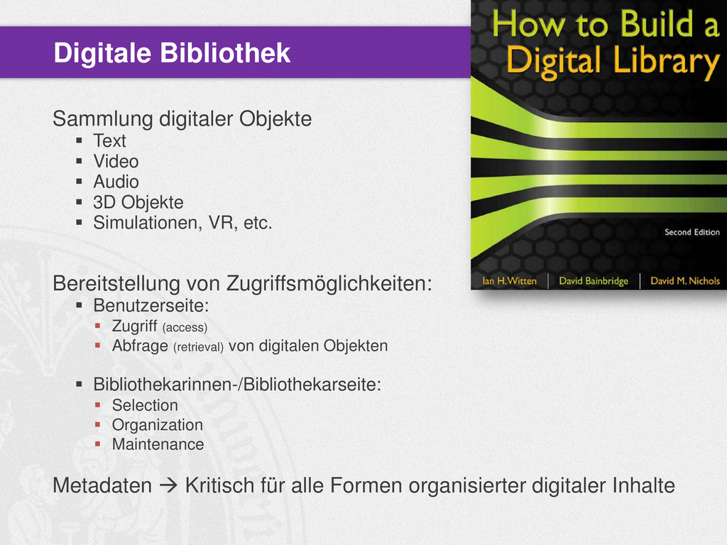 Sammlung digitaler Objekte  Text  Video  Aud...