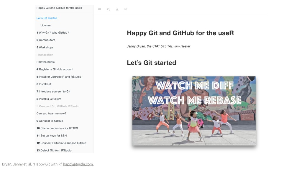 "Bryan, Jenny et. al. ""Happy Git with R"", happyg..."