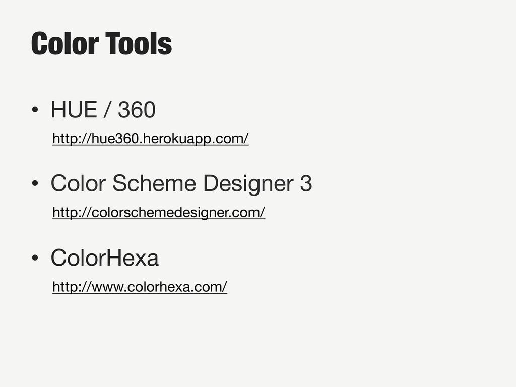 Color Tools • HUE / 360 http://hue360.heroku...