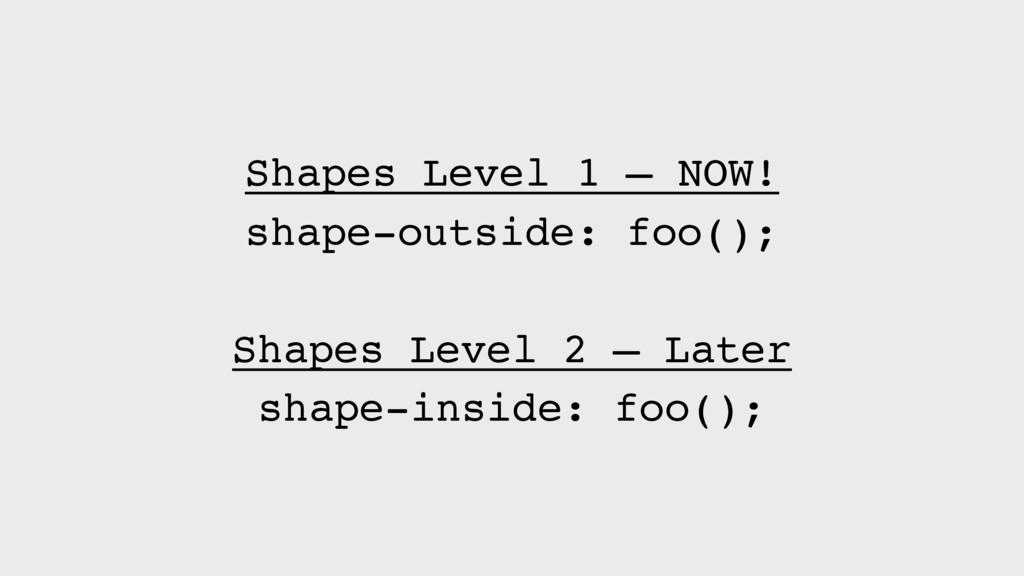 Shapes Level 1 — NOW! shape-outside: foo(); Sha...