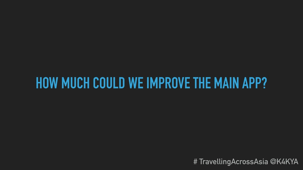 HOW MUCH COULD WE IMPROVE THE MAIN APP? # Trave...