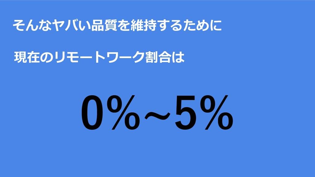 そんなヤバい品質を維持するために 現在のリモートワーク割合は 0%~5%