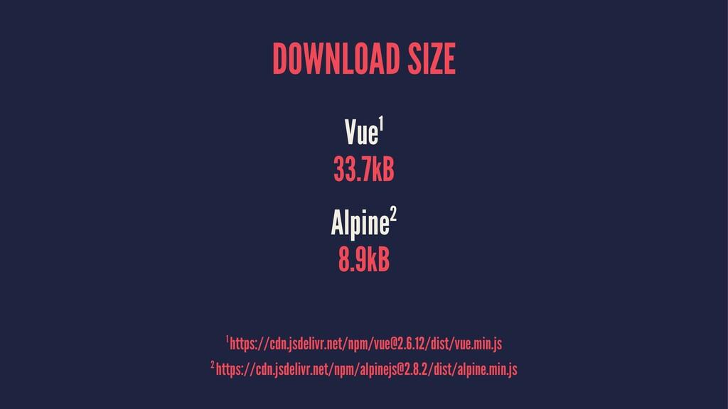DOWNLOAD SIZE Vue1 33.7kB Alpine2 8.9kB 2 https...