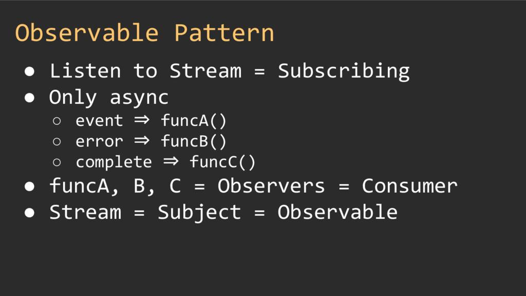 Observable Pattern ● Listen to Stream = Subscri...