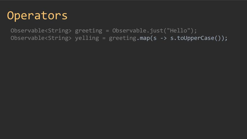 Operators Observable<String> greeting = Observa...