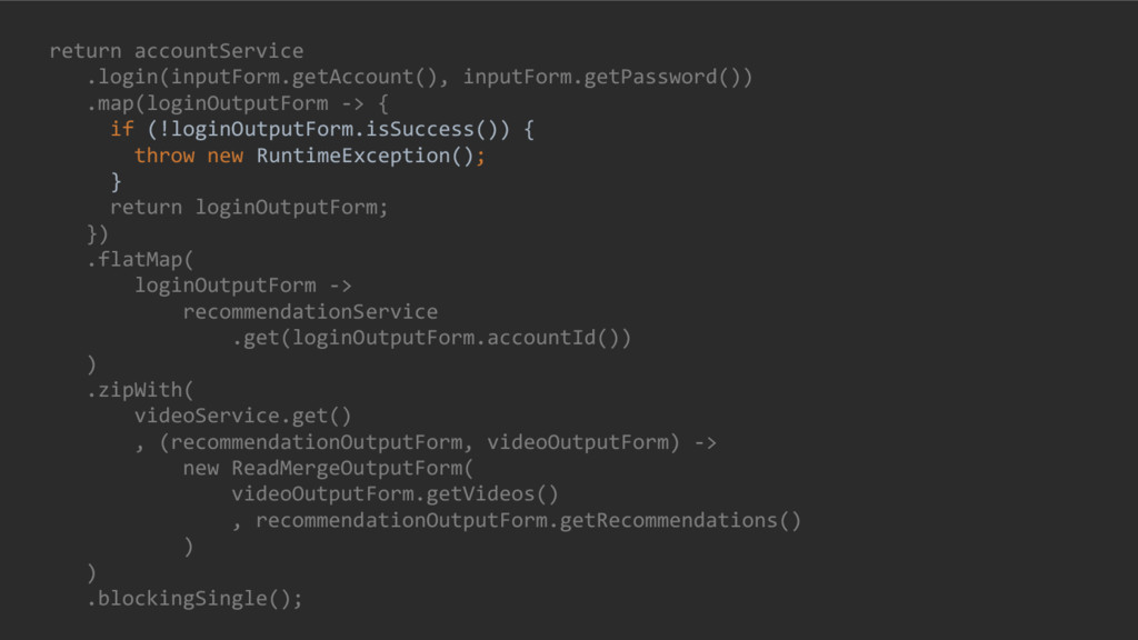return accountService .login(inputForm.getAccou...