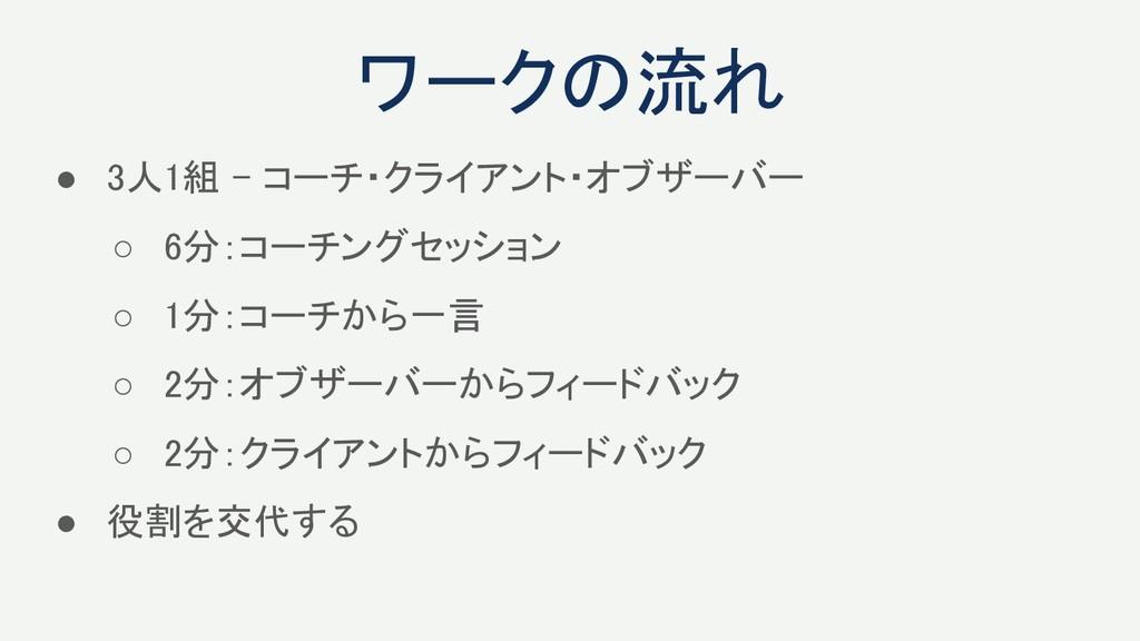 ● 3人1組 - コーチ・クライアント・オブザーバー ○ 6分:コーチングセッション ○ ...