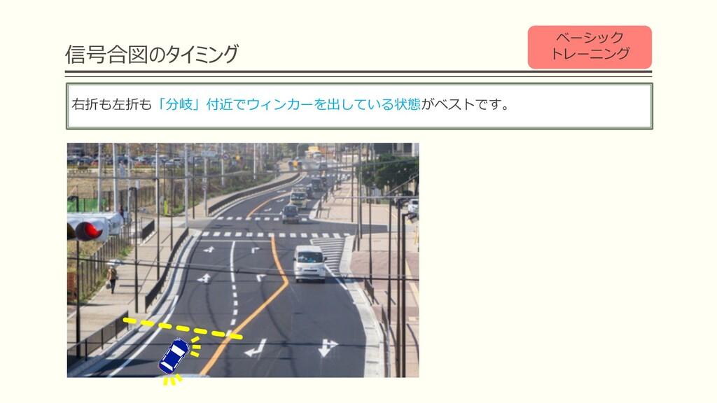 信号合図のタイミング 右折も左折も「分岐」付近でウィンカーを出している状態がベストです。 ベー...