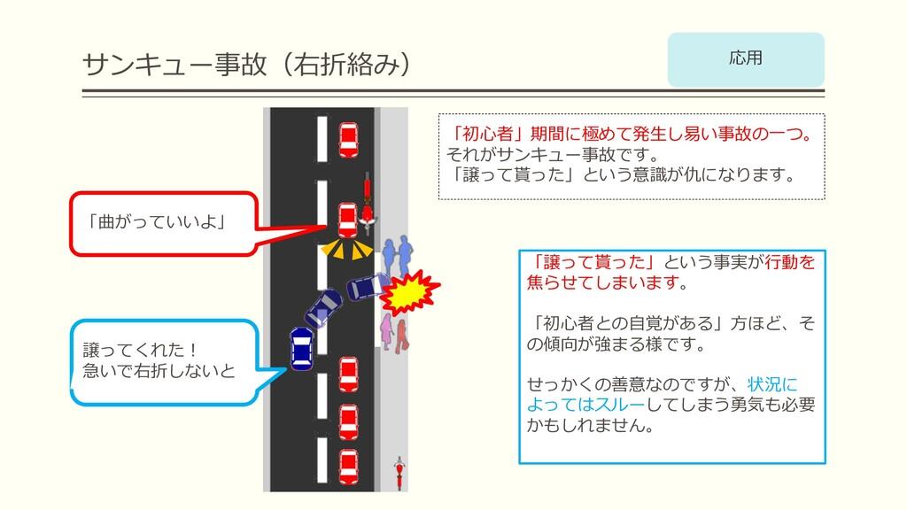 サンキュー事故(右折絡み) 「曲がっていいよ」 「初⼼者」期間に極めて発⽣し易い事故の⼀つ。 ...