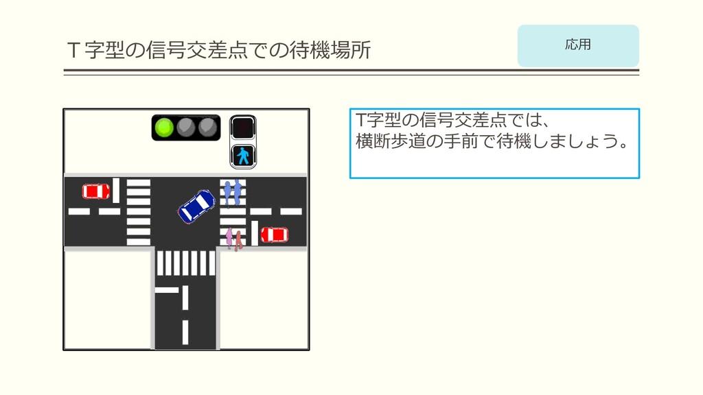 T字型の信号交差点での待機場所 T字型の信号交差点では、 横断歩道の⼿前で待機しましょう。 応⽤