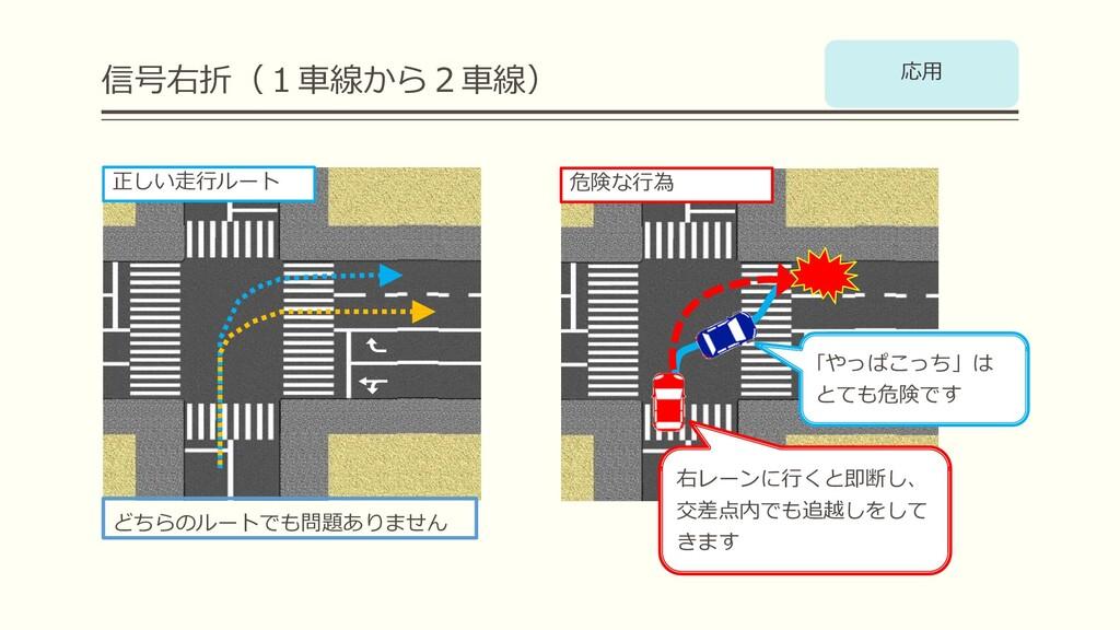 信号右折(1⾞線から2⾞線) どちらのルートでも問題ありません 右レーンに⾏くと即断し、 交差...