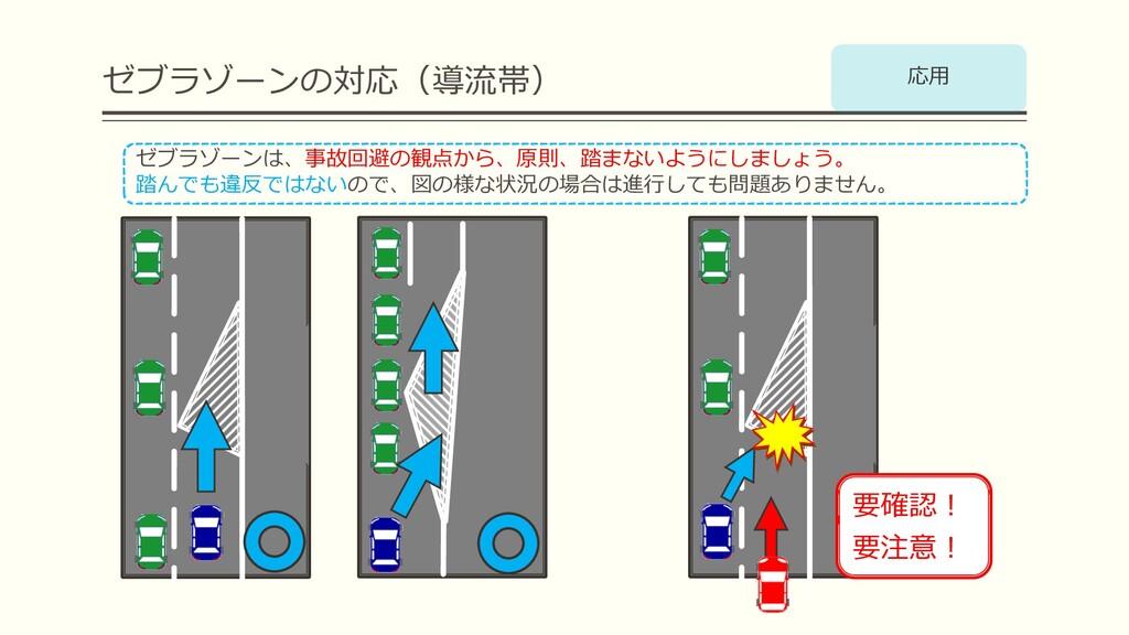 ゼブラゾーンの対応(導流帯) ゼブラゾーンは、事故回避の観点から、原則、踏まないようにしましょ...