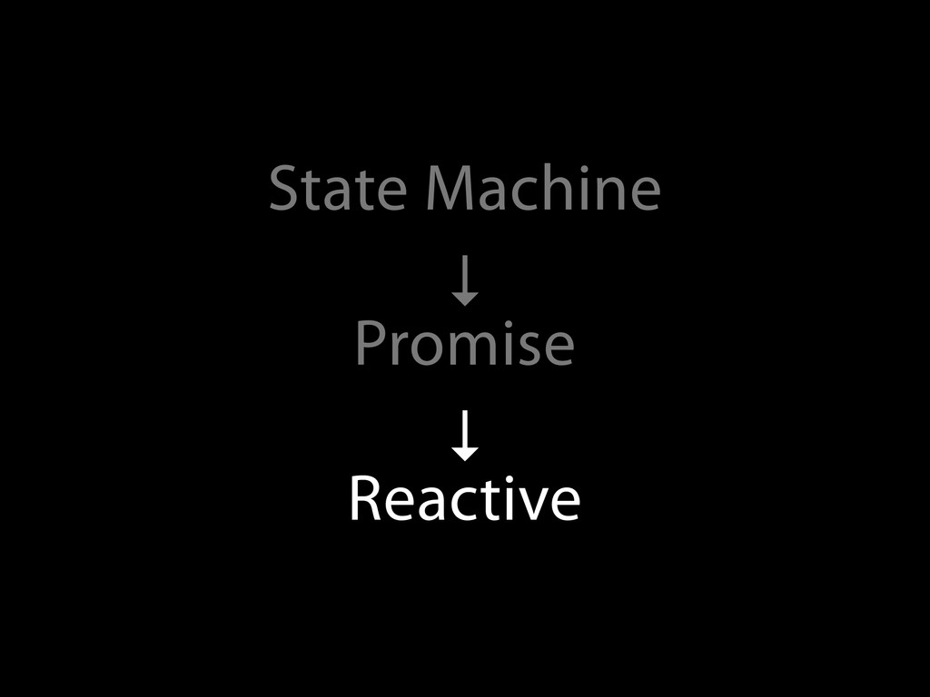 State Machine ↓ Promise ↓ Reactive