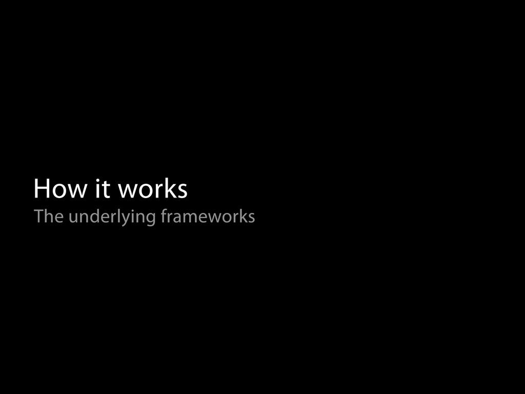 How it works The underlying frameworks