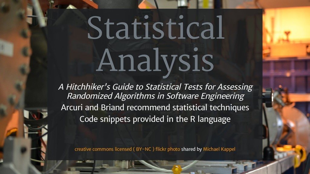 Statistical Analysis A Hitchhiker's Guide to St...