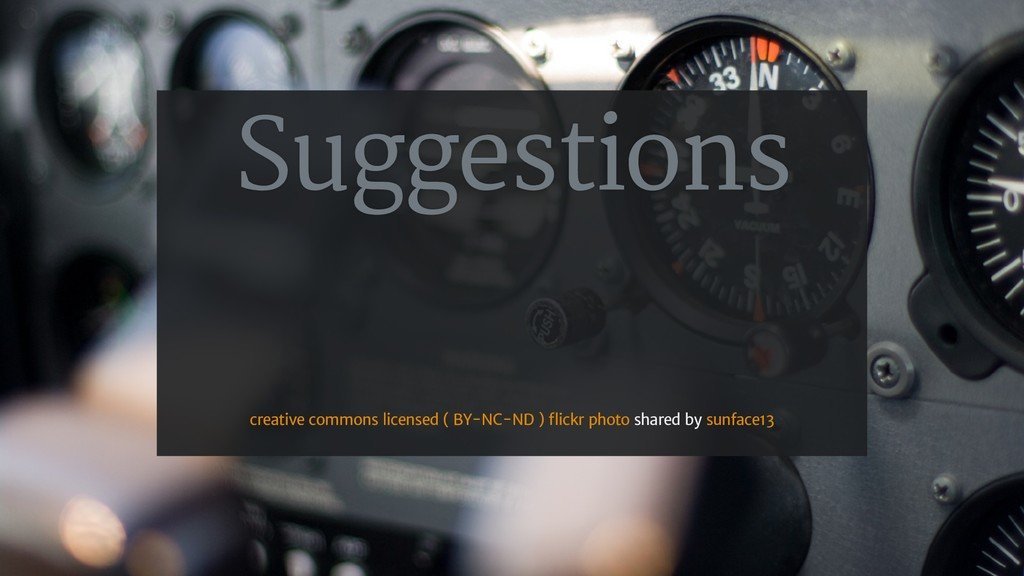 Suggestions shared by creative commons licensed...