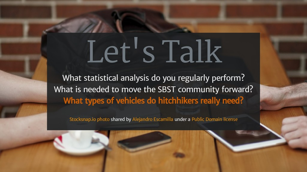 Let's Talk What statistical analysis do you reg...