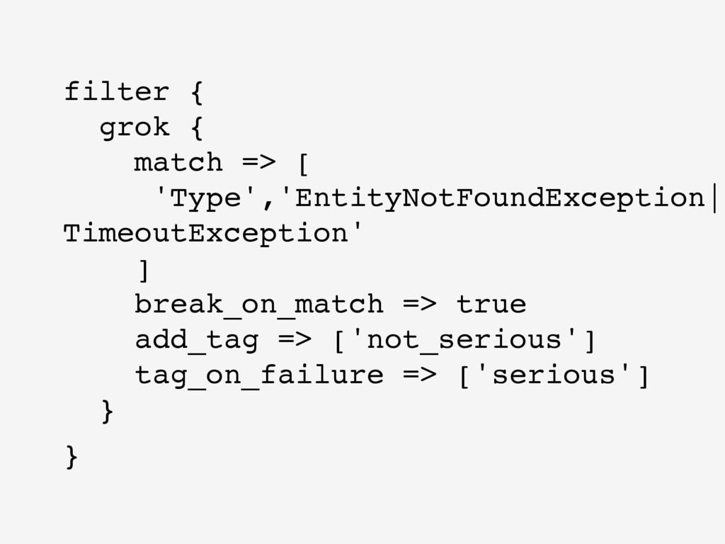 filter { grok { match => [ 'Type','EntityNotF...