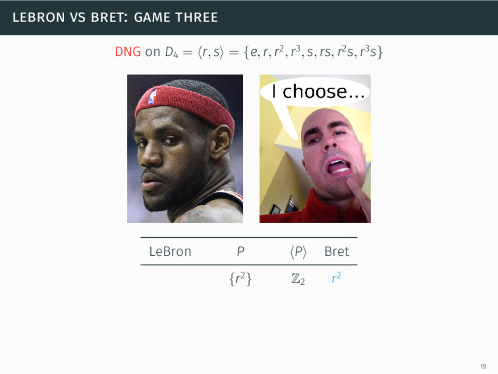 lebron vs bret: game three DNG on D4 = ⟨r, s⟩ =...