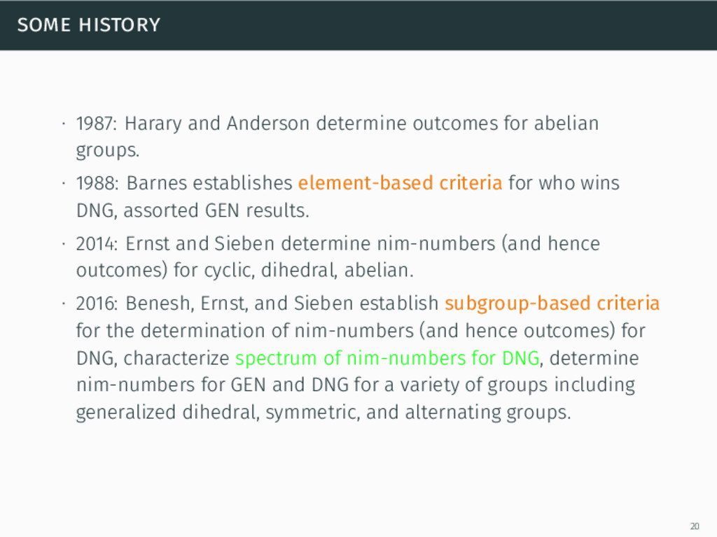 some history ∙ 1987: Harary and Anderson determ...