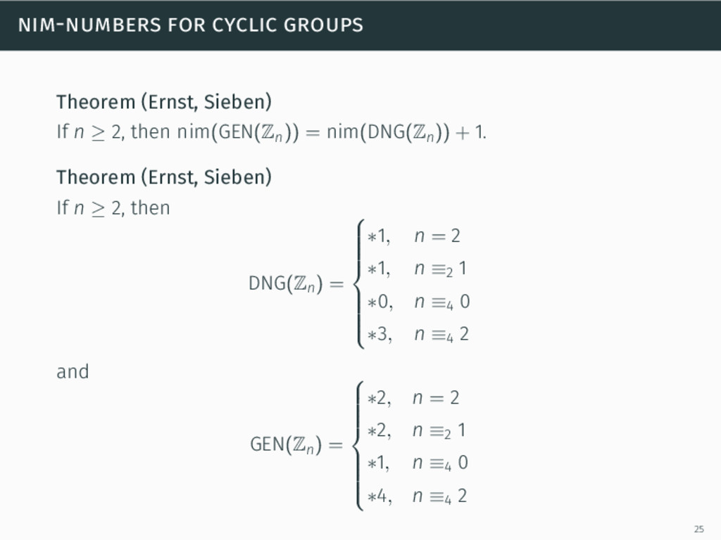 nim-numbers for cyclic groups Theorem (Ernst, S...